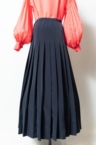 Agǹes B Made In France Navy Pleats Skirt
