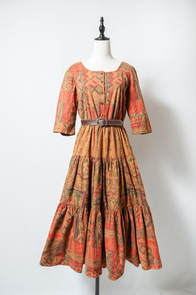 Ancient mural Pattern Tiered Dress