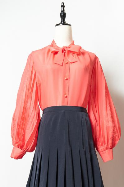 Made In Euro Pleats Sleeve Pink Blouse