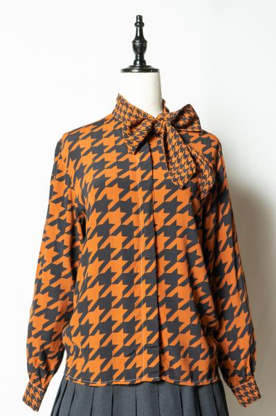 Houndstooth Bowtie Blouse