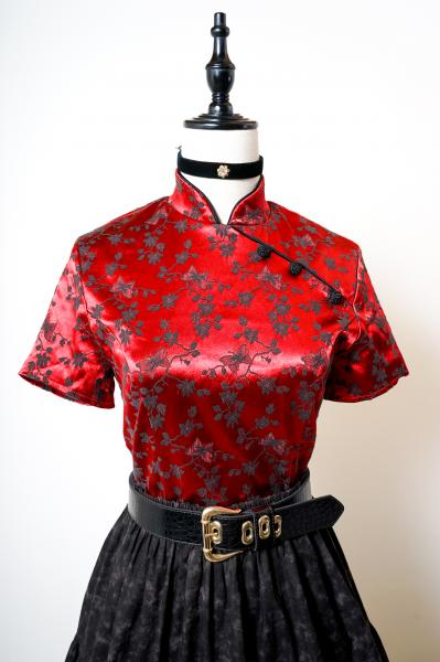 Butterfly×Botanical Embroidery Red China Tops