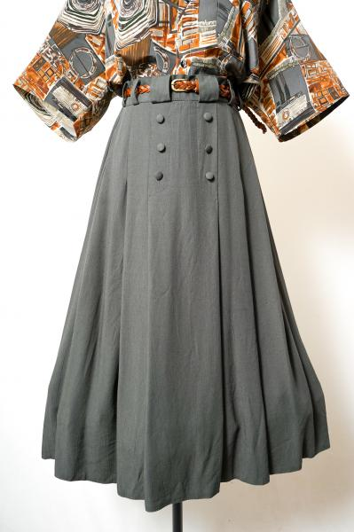 Made In Euro Khaki gray Pleats Skirt