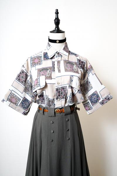 Retro Flower Tile Pattern Blouse