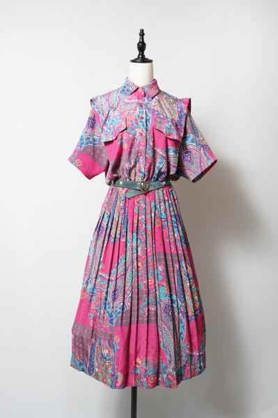 LESLIE FAY Flower×Paisley Pink Dress