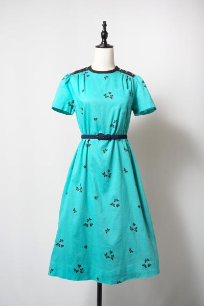 Butterfly Pattern Blue green Dress