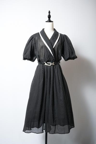 Dot Pattern Cache coeur Black Dress