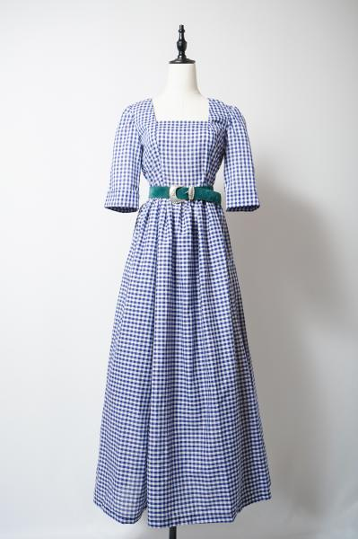 Navy Gingham Check Long Dress