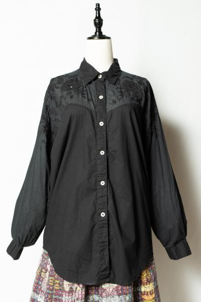 Flower Embroidery Black Blouse