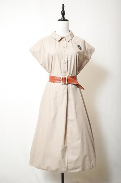 Made In Euro French Sleeve Beige Dress