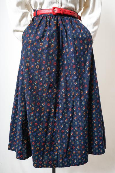 Made In Gt.Britain Colorful Bird×Flower Navy Skirt