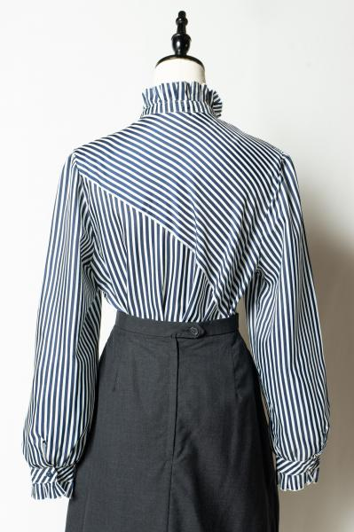 Made In Euro Frill Collar Stripe Tops