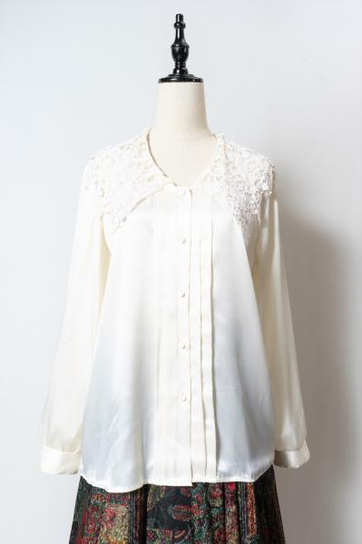 Lace Collar Off white Satin Blouse