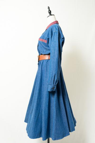 Point Check Denim Dress