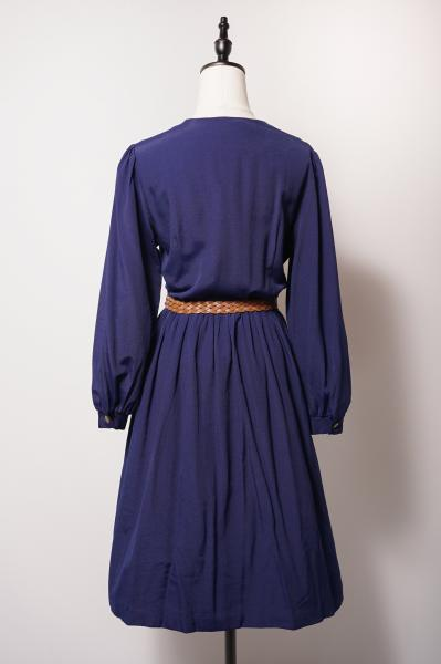Point Embroidery Navy Collar less Dress