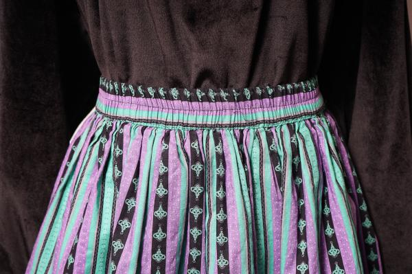 Made In Euro Green×Lavender Stripe Tyrol Skirt