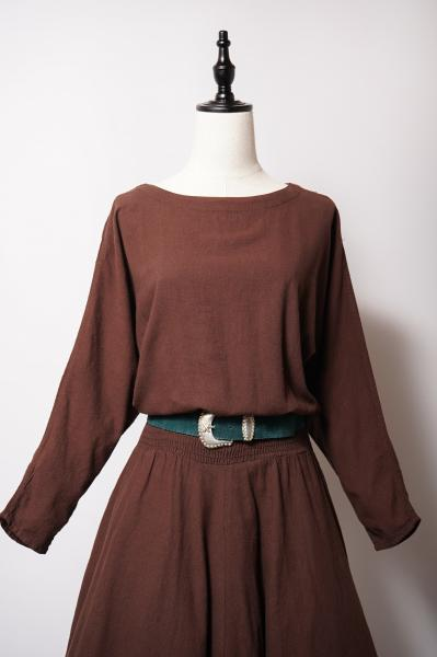 Dolman Sleeve Simple Brown Dress