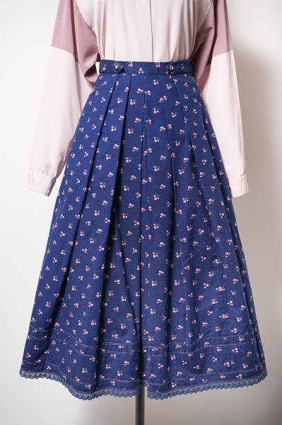 Made In Euro Small Pink Flower Tyrol Skirt