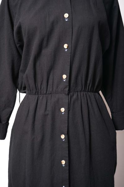 LESLIE FAY Front Opening Black Shirt Dress