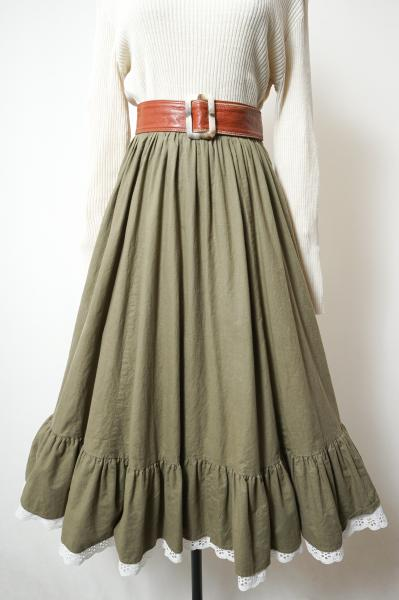 Lace×Tiered Olive Flare Skirt