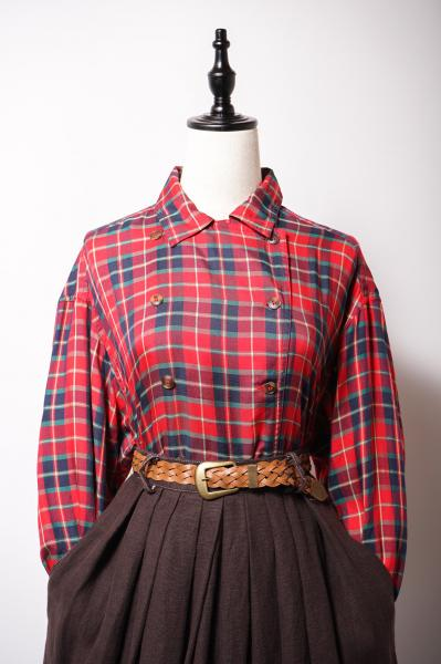 Double Button Tartan Check Red Blouse