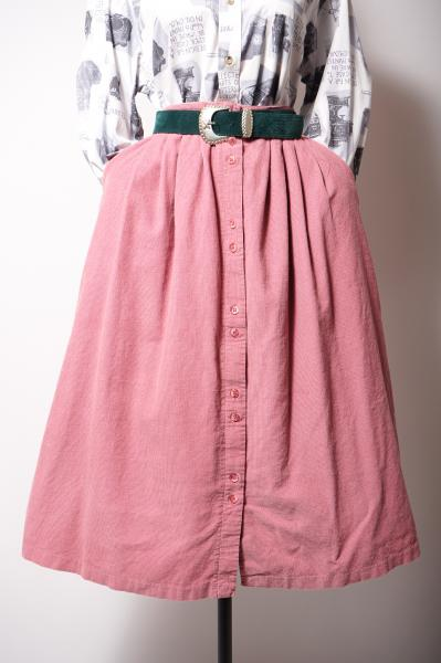 Button down Corduroy Pink Skirt