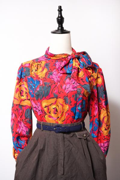 Colorful Art Big Rose Pattern Blouse