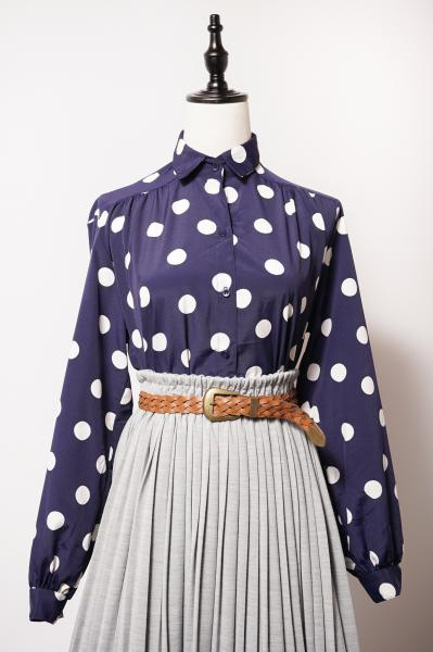 White Coin dot Navy Blouse