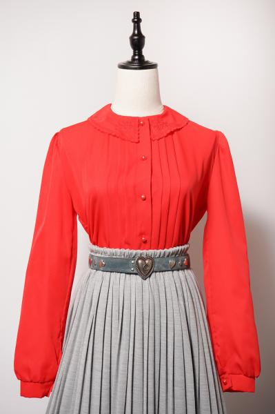 Embroidery Collar Pleats Red Blouse