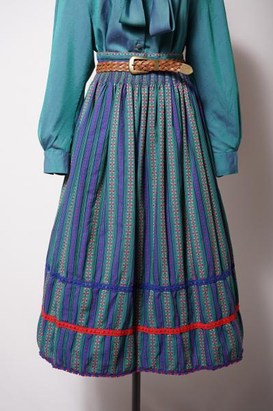 Made In Euro Flower Embroidery Stripe Tyrol Skirt