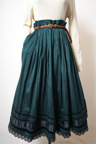 Made In Germany Black Lace×Green Tyrol Skirt