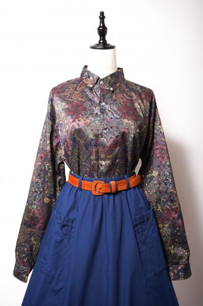 Dark Oriental Pattern Over Blouse