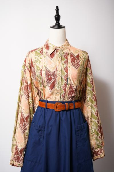 Made In Euro Woodblock print Like Over Blouse