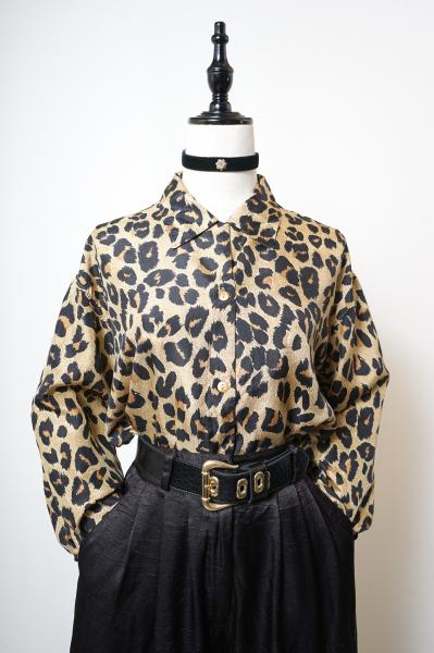 Leopard Pattern Silk Over Blouse