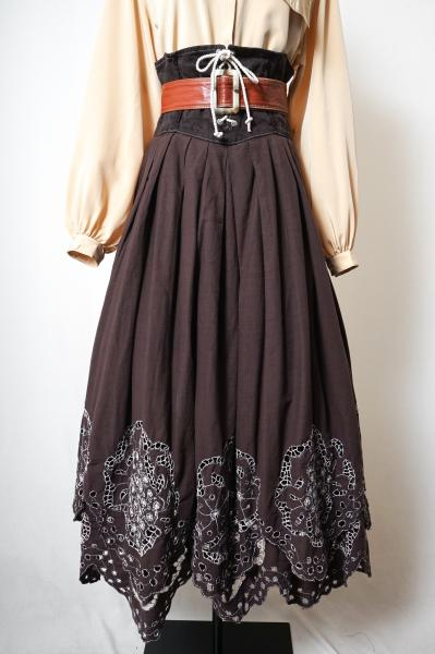 Made In Euro Lace up×Cutwork Design Tyrol Skirt