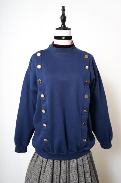 Made In Euro Gold Double Button Design Navy Sweat
