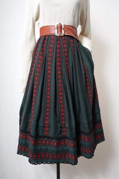 Made In W-Germany Embroidery Flower Tyrol Skirt