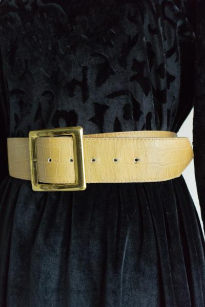 Crocodile Embossing Leather Belt