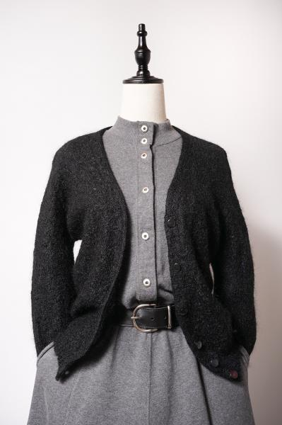 Mohair×Wool Black Cardigan