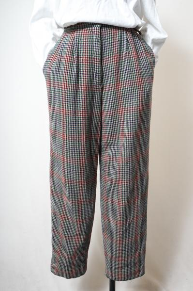 Multi Color Houndstooth Wool Pants