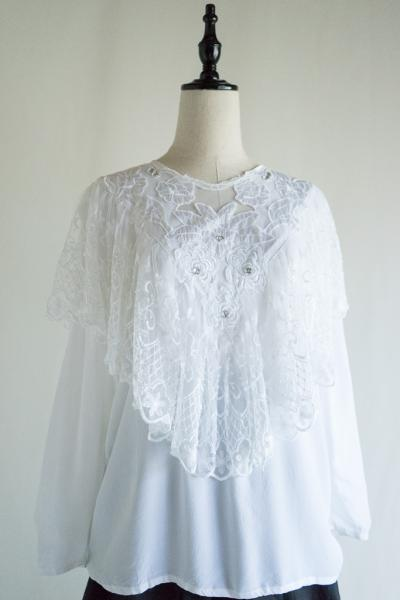 Made In Italy Tulle Cape Design White Tops