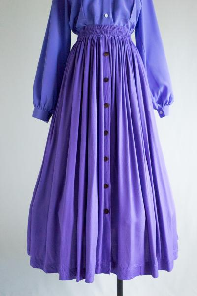 Purple Gather Flare Skirt