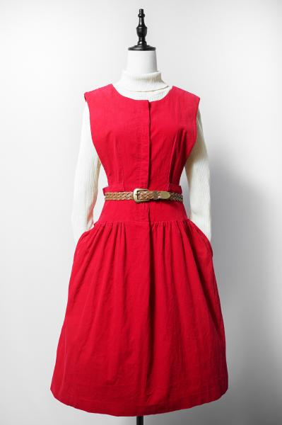 Belt Design Red Corduroy Sleeve less Dress