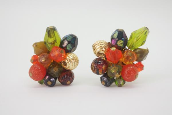 50~60's Made In W-Germany Clear Beads Earrings