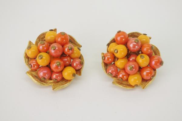 Orange×Yellow Beads Earrings