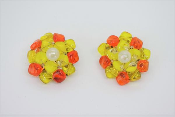 50~60's Made In W-Germany Clear Stone Earrings