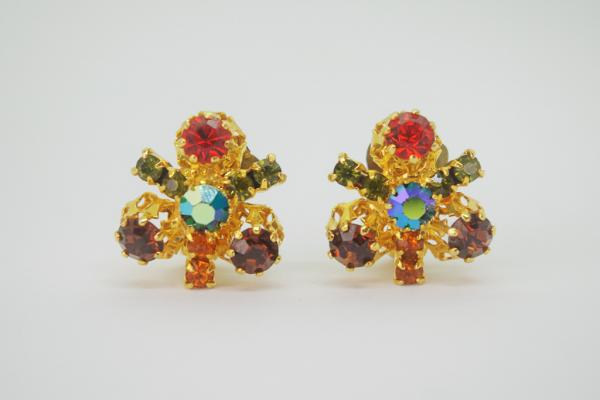 60's Made In AUSTRIA Crystal Design Earrings