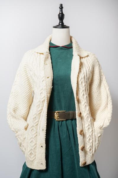 Wooden Button Fisherman Ivory Cardigan
