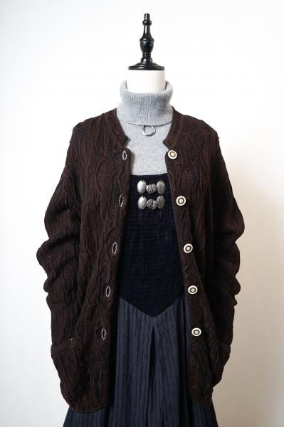 Made In Austria Brown 3D Knit  Tyrol Cardigan