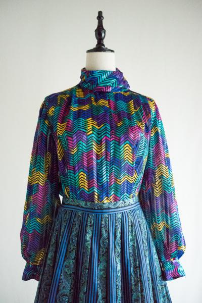 Colorful Chevron Scarf collar Blouse