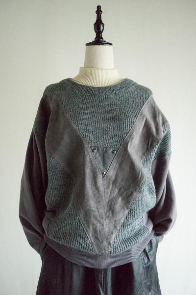 Gray Suede×Lib Knit Sweater